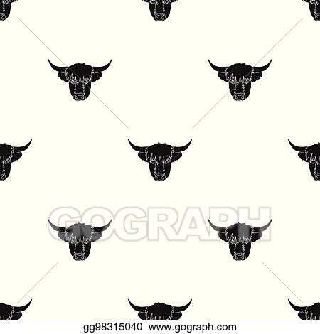 Vector Stock Highland Cattle Head Icon In Black Style