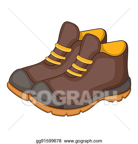 Stock Illustration Hiking Boots Icon Cartoon Style Clipart