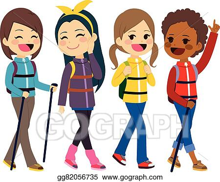 vector illustration hiking girls friends eps clipart gg82056735 rh gograph com