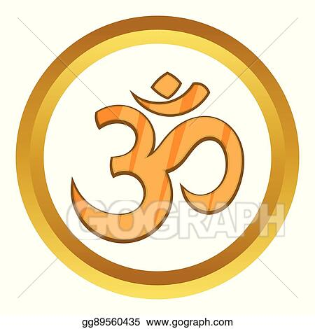Vector Illustration Hindu Om Symbol Vector Icon Stock Clip Art