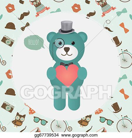 Vector Art Hipster Bear Holding Heart Illustration Clipart