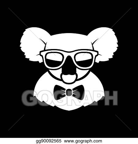 bd8b9f9f612 Vector Art - Hipster cute koala in glasses and bow tie. simple logo ...