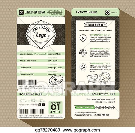 Vector Stock Hipster Design Boarding Pass Ticket Event Invitation