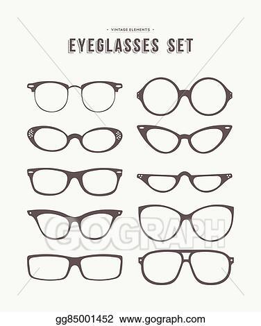 5511850263 Vector Art - Hipster eye glasses icon set fashion illustration ...