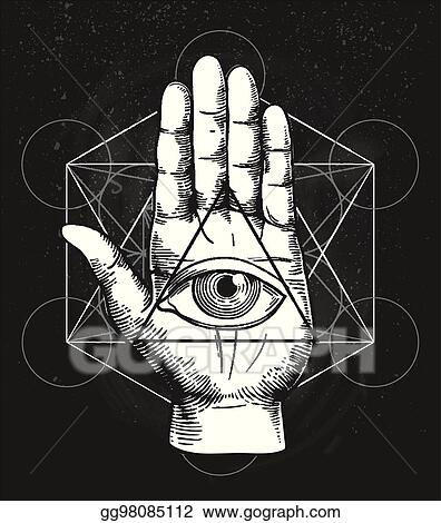 Vector Stock Hipster Illustration With Sacred Geometry Hand And