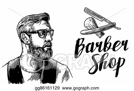 Hipster Shave Haircut In The BarberShop Vector Black And White Illustrations Typography Elements Hand Drawn Vintage Engraving For Poster Label