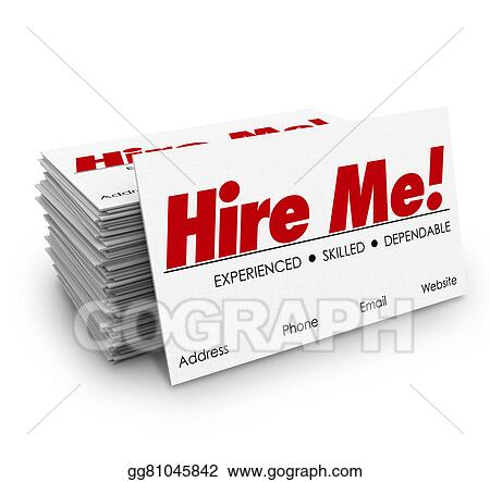 Stock Illustration Hire Me Business Cards Apply Job Interview
