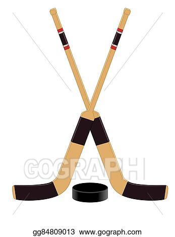 Vector Art Hockey Goalie Sticks With Puck Eps Clipart Gg84809013