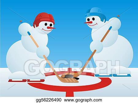 Drawing - Santa play hockey. Clipart Drawing gg94549516 - GoGraph