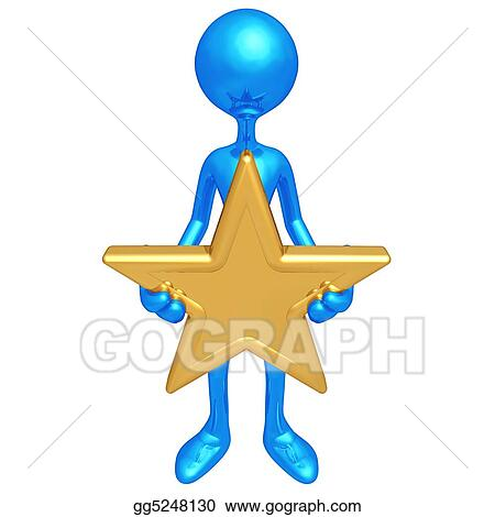 stock illustration holding a gold star clipart drawing gg5248130 rh gograph com Small Gold Stars Clip Art Gold Smiling Star Clip Art