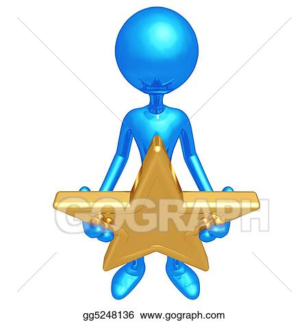 stock illustration holding a gold star clipart drawing gg5248136 rh gograph com Gold Smiling Star Clip Art Gold People Team Clip Art