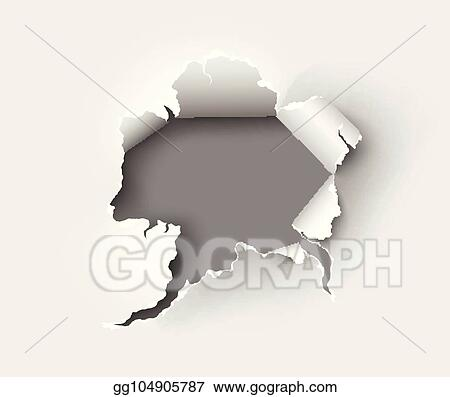 EPS Vector - Hole torn in ripped paper on white back  Stock Clipart