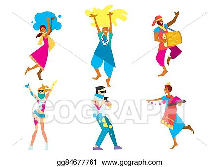 stock illustration holi festival raster illustration the traditional indian festival bengali new year holiday of spring and nature clip art