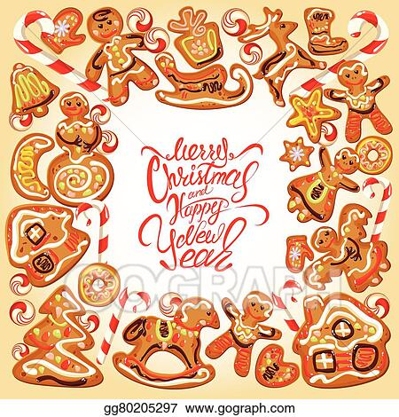 border with xmas gingerbread cookies in reindeer star moon people heart house and fir tree shapes calligraphic text merry christmas and happy new