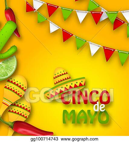 Holiday Celebration Banner For Cinco De Mayo With Chili Pepper Sombrero Hat Maracas Piece Of Lime Cactus