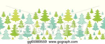 Christmas Trees Background Clipart.Vector Stock Holiday Christmas Trees Horizontal Seamless