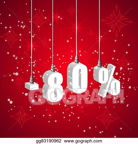 holiday winter sale discount banner hanging 3d bulb digit lights