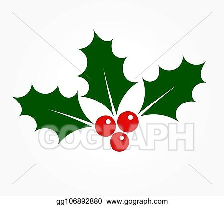 Christmas Clipart Holly.Vector Stock Holly Berries Ilex Plant Clipart