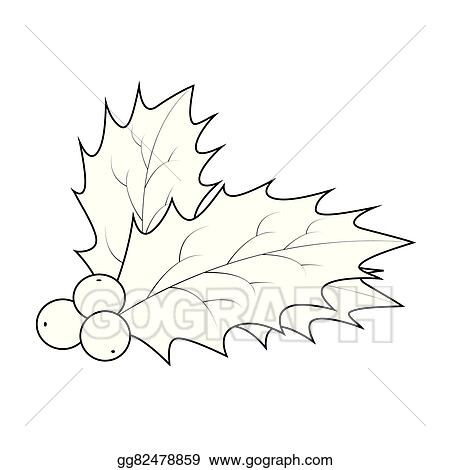 Christmas Holly Silhouette.Vector Illustration Holly Berry Silhouette Christmas