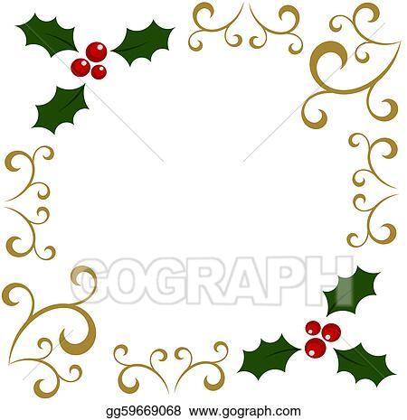 holly christmas frame