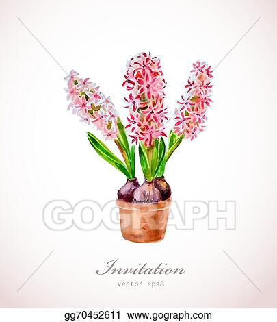 Vector Stock Home Flowers In A Vase Watercolor Stock Clip Art