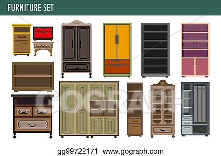 Vector Illustration Home Furniture Cabinet Bookcase