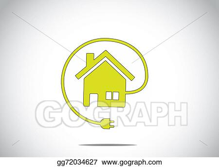 Drawing - Home house energy solution with cable charger plug icon ...