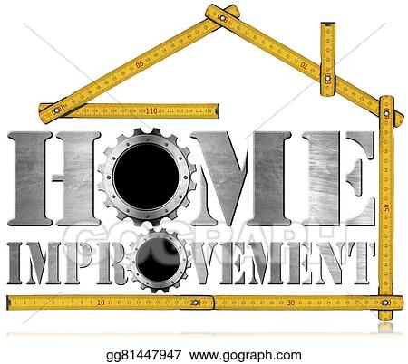 stock illustration home improvement symbol with gears clipart rh gograph com Home Improvement Tools Home Improvement Logo Clip Art