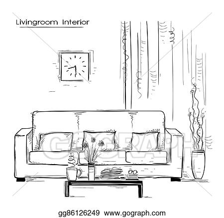 Vector Illustration Home Interior With Couch And Table Hand Drawn