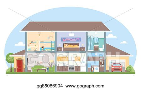 Vector Illustration Home Interior With Room Furniture Vector Illustration Detailed Modern House In Flat Style Stock Clip Art Gg85086904 Gograph
