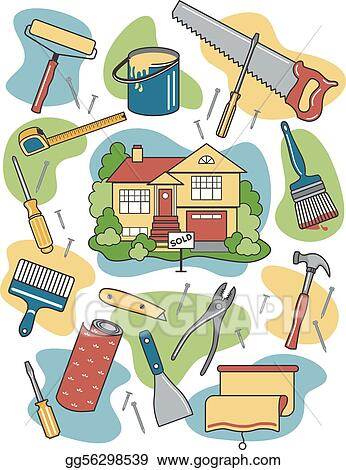 eps vector vector illustration of household tools surrounding a newly sold renovated home stock clipart illustration gg56298539