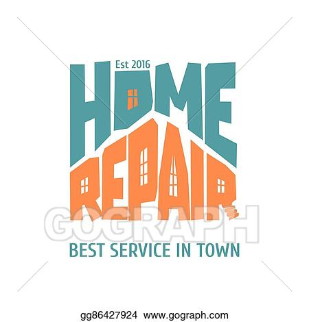 Vector Clipart - Home repair and remodel vector logo, icon, badge