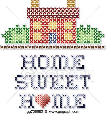 Vector Stock Home Sweet Home Embroidery Clipart Illustration