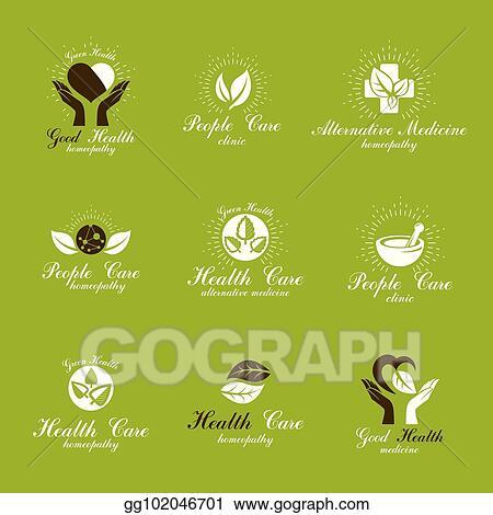 Vector Illustration Homeopathy Creative Symbols Collection