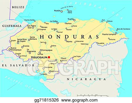 Clip Art Vector Honduras political map Stock EPS gg71815326 GoGraph