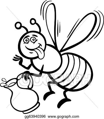 Vector Stock - Honey bee cartoon for coloring book. Stock Clip Art ...