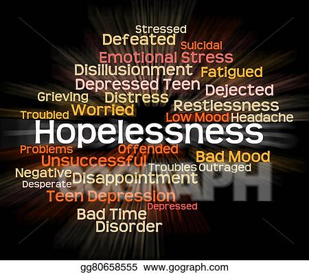 Drawing - Hopelessness word shows in despair and ...