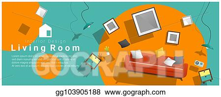 colorful furniture for sale. Horizontal Interior Banner Sale With Living Room Furniture Hovering On  Colorful Background 2 For I