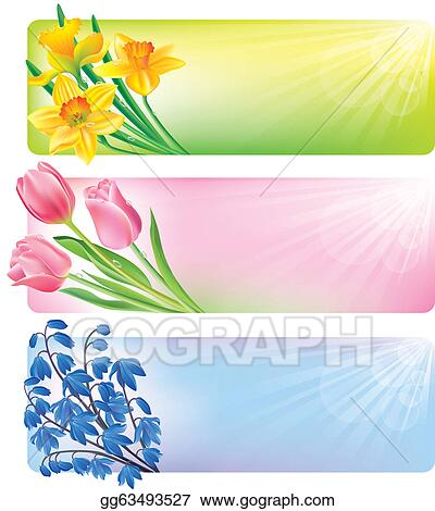 Eps Illustration Horizontal Spring Banners Of Flowers Vector