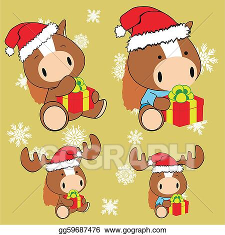 Christmas Horse Cartoon.Vector Clipart Horse Baby Cartoon Christmas Set Vector
