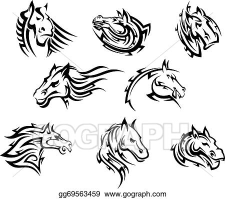 Eps Vector Horse Head Tribal Tattoos Stock Clipart Illustration