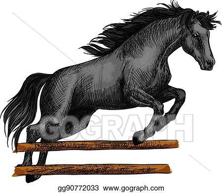 Vector Art Horse Jumping For Equine Horserace Sport Symbol Eps