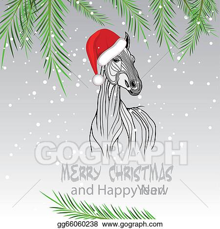 Christmas Horse Drawing.Vector Art Horse Merry Christmas Card 2014 Yea Clipart