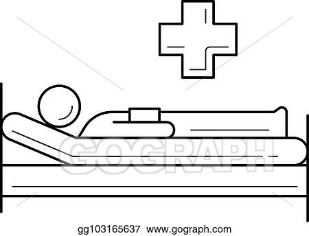 Hospital Bed Line Icon.