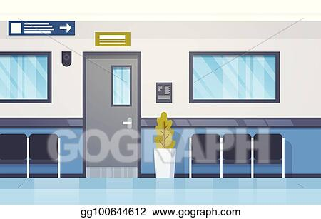 Hospital Interior Empty Hall With Seats And Door Modern Clinic Corridor & Clip Art Vector - Hospital interior empty hall with seats and door ...