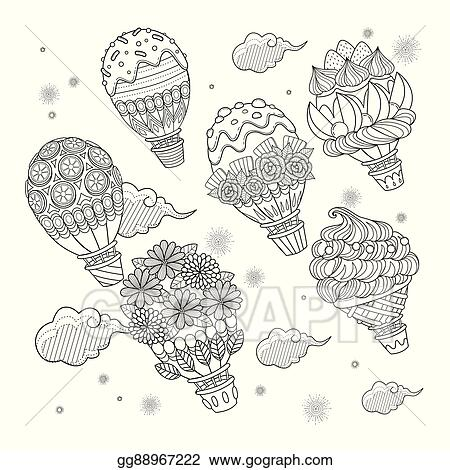 Vector Stock Hot air balloon adult coloring page Clipart