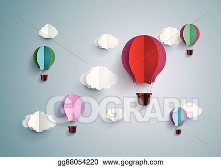 Vector Stock Hot Air Balloon And Cloud Stock Clip Art Gg88054220