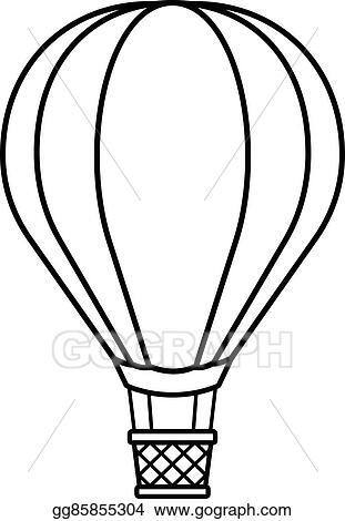 Clip Art Vector Hot Air Balloon Cartoon To Crayon Stock Eps Gg85855304 Gograph