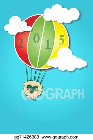 hot air balloon in the sky and happy new year sheep 2015 design card