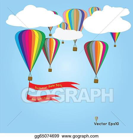 Hot Air Balloons With Summer Sale Flag
